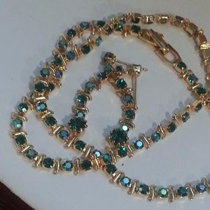 Blue green AB rhinestones necklace earring NYE NWT